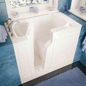 Spa World Venzi Rectangular Air Jetted Walk-In Bathtub, 26x46, Left Drain, Biscuit