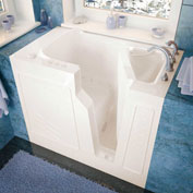 Spa World Venzi Rectangular Air Jetted Walk-In Bathtub, 26x46, Right Drain, Biscuit