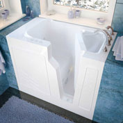 Spa World Venzi Rectangular Whirlpool Walk-In Bathtub, 26x46, Right Drain, White