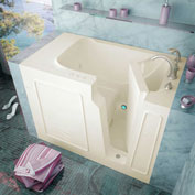 Spa World Venzi Rectangular Whirlpool Walk-In Bathtub, 29x52, Right Drain, Biscuit