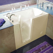 Spa World Venzi Rectangular Soaking Walk-In Bathtub, 30x54, Left Drain, Biscuit