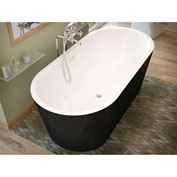 Spa World Venzi Tre Oval Soaking Bathtub Bathtub, 32x63, Center Drain, White Inside, Black Outside