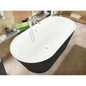 Spa World Venzi Tre Oval Soaking Bathtub Bathtub, 32x70, Center Drain, White Inside, Black Outside