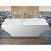 Spa World Venzi Prima Rectangular Soaking Bathtub Bathtub, 32x71, Center Drain, White