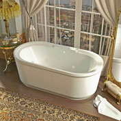 Spa World Venzi Padre Oval Whirlpool Bathtub, 34x67, Center Drain, White