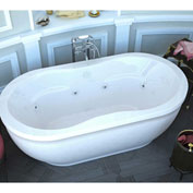 Spa World Venzi Velia Oval Air & Whirlpool Bathtub, 34x71, Center Drain, White