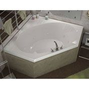 Spa World Venzi Luna Corner Air & Whirlpool Bathtub, 60x60, Center Drain, White