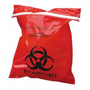 "Red Stick-On Biohazard Waste Bags, 2 mil, 12""W x 14""L, 100/Box"