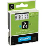 "DYMO® D1 Standard Labels 1/2"" Black on Clear"