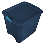 "Sterilite Latch & Carry Tote 14487404 - True Blue/Blue Aquarium 26 Gal. 23-5/8"" x 18-5/8"" x 20-1/8"" - Pkg Qty 4"