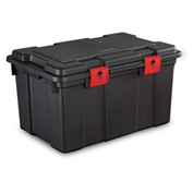 "Sterilite Storage Trunk 18419004 - Black/Racer Red 16 Gal. 24""L x 17""W x 13-1/2""H - Pkg Qty 4"