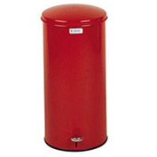 "Round Step-On Waste Receptacle, Red, 5 gal., 11""Dia x 22""H"