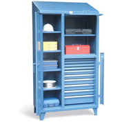 "Strong Hold Cabinet with Lift-Up Lid and 10 Drawers 3.96-246-10DB-LB-LV-SL - 45""W x 24""D x 93""H"