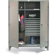 "Strong Hold Wardrobe Cabinet 45-W-242-7DB-PB with 7 Drawers & Pegboard - 48""W x 24""D x 66""H"