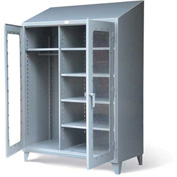 "Strong Hold Wardrobe Cabinet with See-Thru Doors and Sloped Top 46-LDW-245-SL - 48W x 24D x 87""H"