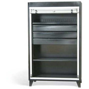 "Strong Hold Heavy Duty Roll-Up Door Cabinet with Drawers 46-RUDD-241-1PH-3DB - 48""W x 24""D x 78""H"