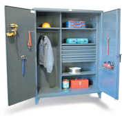 "Strong Hold Wardrobe Cabinet 46-W-244-4DB-PB with 4 Drawers & Pegboard  - 48""W x 24""D x 78""H"