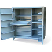 """Strong Hold Cabinet with Large Door Pockets 55-364-1SOS-4DB - 60""""W x 36""""D x 66""""H"""