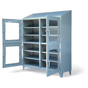 "Strong Hold Heavy Duty Four Compartment Clearview Cabinet 56-4D-LD-248-SL-CFG - 60""W x 24""D x 87""H"