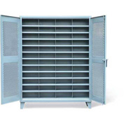 "Strong Hold Ventilated Cabinet with 48 Compartments 56-V-1611-48OP - 60""W x 16""D x 78""H"