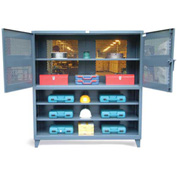 "Strong Hold Two Tier Ventilated and Shelving Combination Cabinet 66-2TV-243-LBD - 72""W x 24""D x 78""H"