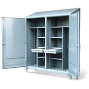 "Strong Hold Double Shift Cabinet 66-DSW/PB-248-2DB-SL-DIV w/Hooks & Pegboard - 72""W x 24""D x 87""H"