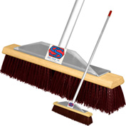 "Super Sweep Inc. 18"" Maroon Poly Super Sweeper Broom - 1000-101018"
