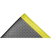 "Akro Diamond-Cushion 1/2"" Thick Anti-Fatigue Classic Floor Mat, 3' x 12' Black/Yellow"