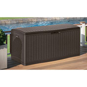 "Suncast BMDB60 Resin Wicker Outdoor Storage Deck Box  60 Gallon 26-3/4""L x 27-1/2""W x 26-1/4""H Java"