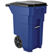 Suncast Commercial Wheeled Trash Can with Lid, 50 Gallon, Blue - BMTCW50BL