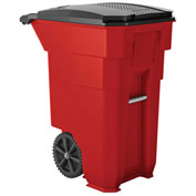 Suncast Commercial Wheeled Trash Can with Lid, 50 Gallon, Red - BMTCW50R