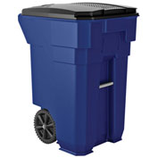 Suncast Commercial Wheeled Trash Can with Lid, 65 Gallon, Blue - BMTCW65BL