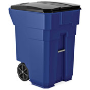 Suncast Commercial Wheeled Trash Can with Lid, 96 Gallon, Blue - BMTCW96BL