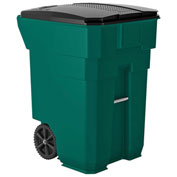 Suncast Commercial Wheeled Trash Can with Lid, 96 Gallon, Green - BMTCW96G