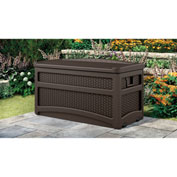 "Suncast DBW7500 Outdoor Deck Box with Seat and Rollers 73 Gallon 46""L x 23-5/8""W x 25-1/2""H Mocha"
