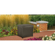 "Suncast SSW900 Resin Wicker Outdoor Storage Deck Box 22 Gallon 22-1/2""W x 18""D x 20-1/2""H Java"