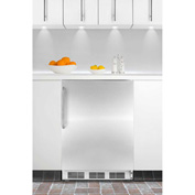 Summit CT66JBISSTB Built In Undercounter Refrigerator-Freezer 5.1 Cu. Ft. White/Stainless Steel