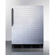 Summit FF63BBIDPL Built In Undercounter All Refrigerator 5.5 Cu. Ft. Black/Diamond Plate