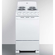 "Summit RE201W - Range, Electric, 4 Burners, 2.41 Cu. Ft., White, 24"" x 20"" x 43"""