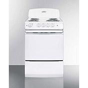 "Summit RE241W - Range, Electric, 4 Burners, 3.0 Cu. Ft., White, 24"" x 24"" x 43"""