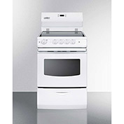 "Summit REX242W - Range, Electric, Smooth Top, 4 Burners, 3.0 Cu. Ft., White, 24"" x 24"" x 46-3/4"""