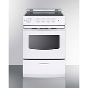 "Summit REX242WRT - Range, Electric, Smooth Top, 4 Burners, 3.0 Cu. Ft., White, 24"" x 24"" x 38"""