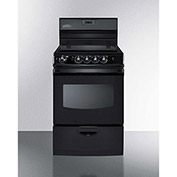 "Summit REX243B - Range, Electric, Smooth Top, 4 Burners, 3.0 Cu. Ft., Black, 24"" x 24"" x 46-3/4"""