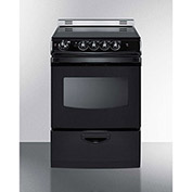 "Summit REX243BRT - Range, Electric, Smooth Top, 4 Burners, 3.0 Cu. Ft., Black, 24"" x 24"" x 38"""