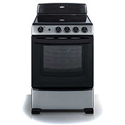 "Summit REX245SS - Range, Electric, Smooth Top, 4 Burners, 3.0 Cu. Ft., Black, 24"" x 24"" x 46-3/4"""