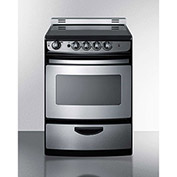 "Summit REX245SSRT - Range, Electric, Smooth Top, 4 Burners, 3.0 Cu. Ft., Black, 24"" x 24"" x 38"""