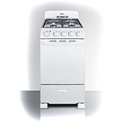 "Summit RG200W -  Range, Gas, 4 Burners, 2.41 Cu. Ft., Spark Start, White, 24"" x 20"" x 43"""