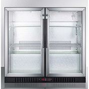 Summit SCR7012DB - Counter Height Beverage Merchandiser, Two Glass Swing Doors