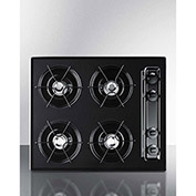 "Summit TNL03P - Cooktop, Electric, 4 Burners, Battery Start, Black, 20"" x 24"" x 3-3/4"""