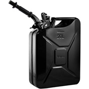Wavian Jerry Can w/Spout & Spout Adapter, Black, 20 Liter/5 Gallon Capacity - 3010